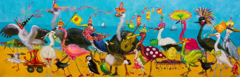 De parade van het gouden ei (35cm x 80cm)