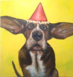 Partydog (30cm x 30cm) VERKOCHT