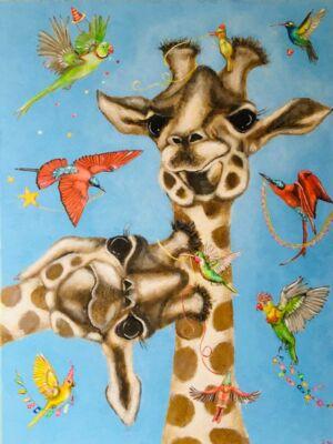 Giraffe is jarig (80cm x 60cm)