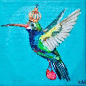 Kolibrie vliegt er op uit (10cm x10cm)